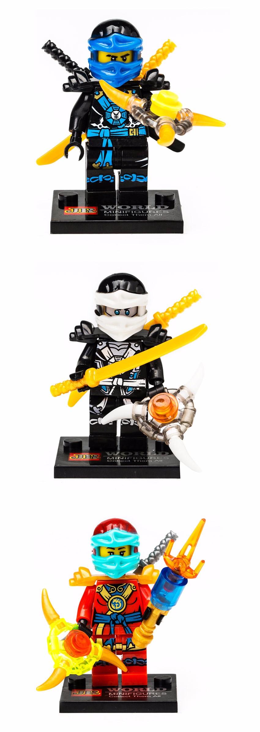 8Pcs/Lot Ninja Kai Jay Zane Grasp Minifigures Constructing Blocks Minifigure Set Mannequin Toy Motion Determine