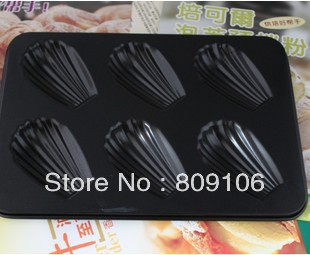 Wholesale/retail,free shipping,6 hole shell cake mold carbon steel daikin paint one piece(China (Mainland))