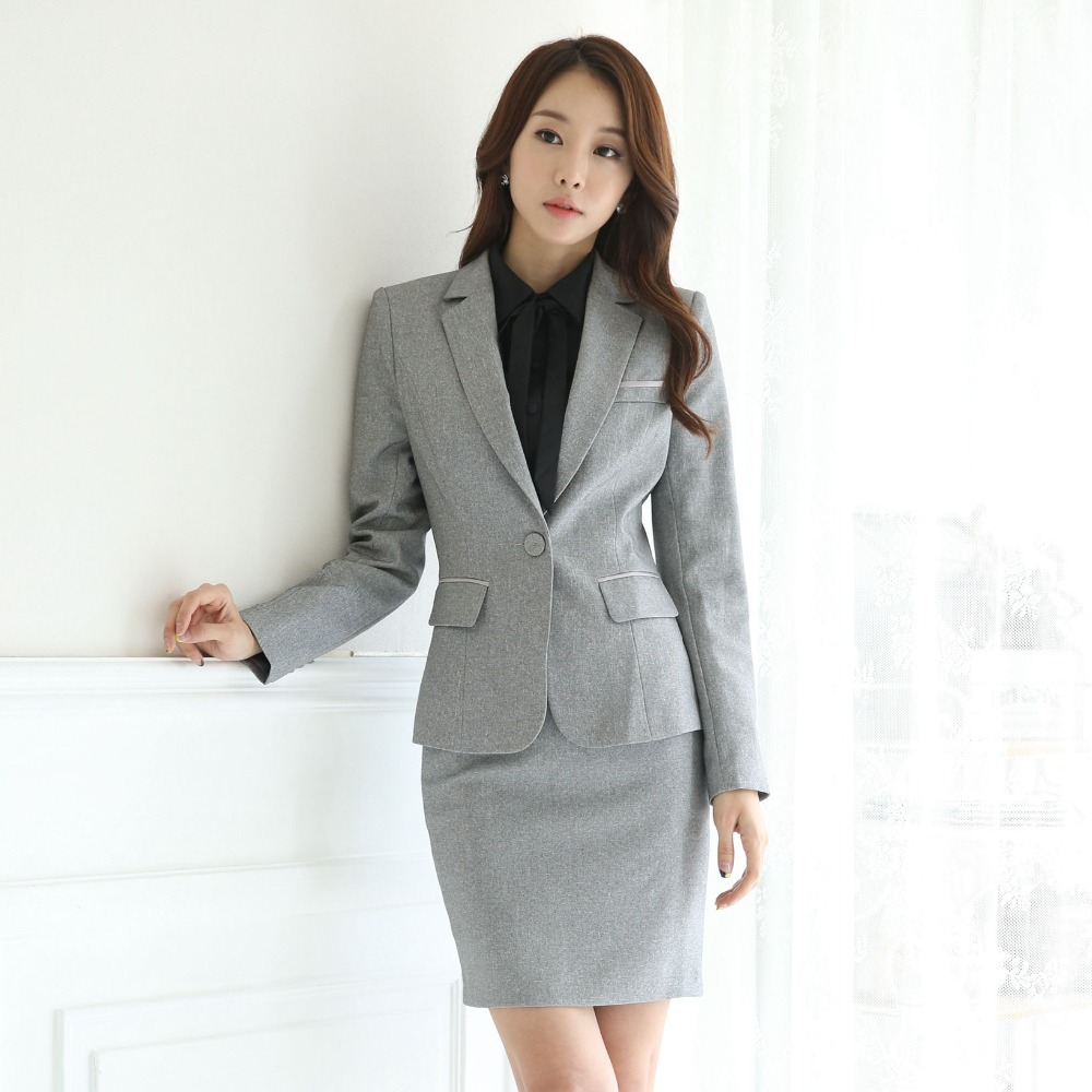Elegant Ladies Office Skirt Suit New 2015 Uniform Designs Women Business Suits Formal Work Wear Female ...