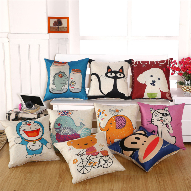 Cartoon Animal Cat Bulldog Bull Terrier Dog Print Car Decorative Throw Pillowcase Pillow Case Cushion Cover