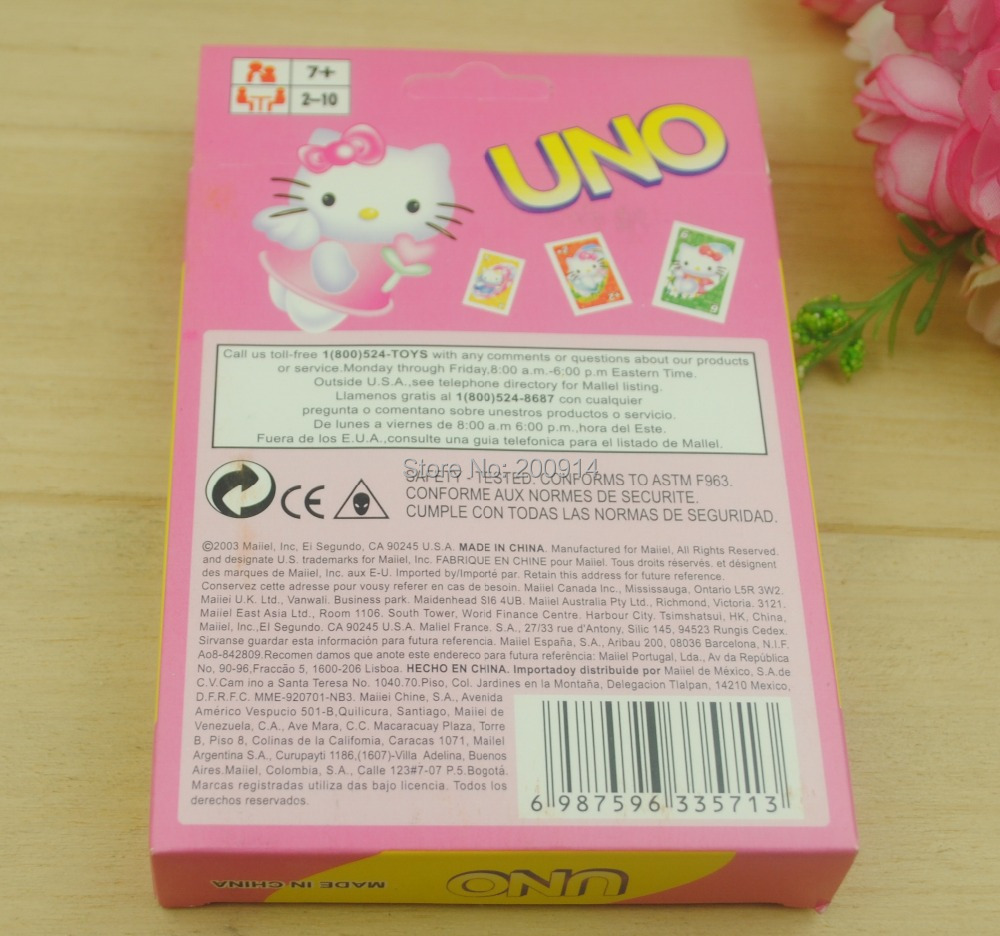 20 sets/lot board game UNO playing card HELLO KITTY cartoon Game card Poker Game 300G paper card(China (Mainland))