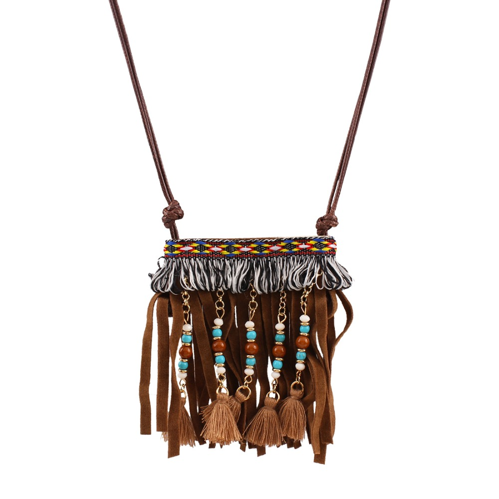 Fashion Maxi Statement Necklace Multi-layer Link Chain Leather Tassel Beads Pendants Ethnic Jewelry GiftN34081<br><br>Aliexpress