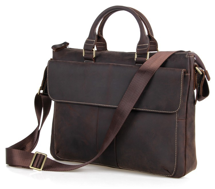 Free Ship Real Crazy Horse Leather Best Selling New Arrival Laptop Briefcases 7113R-1(China (Mainland))