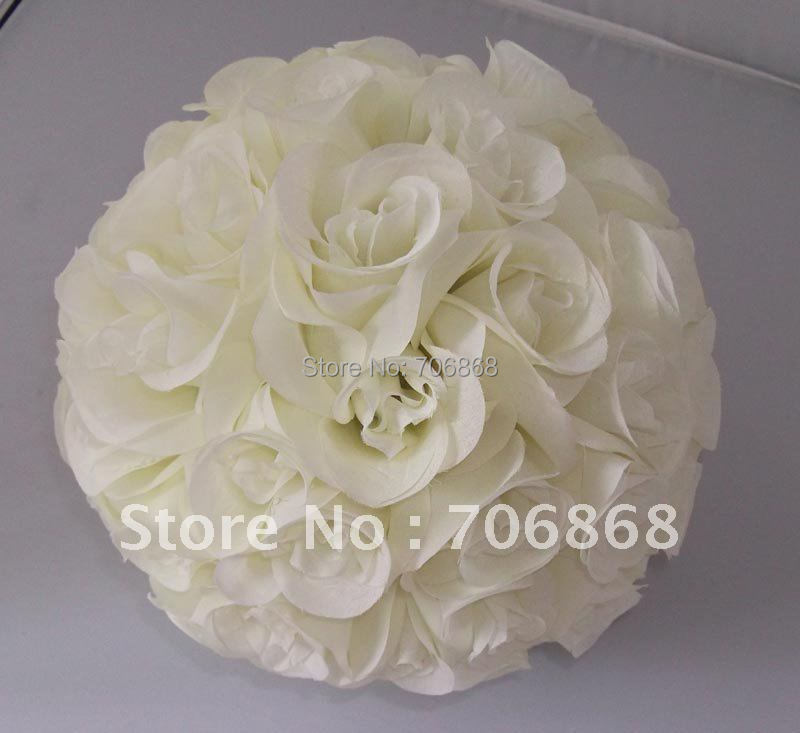 Free shipping 30cm*10 pcs Rose kissing ball artificial silk flower wedding decoration Ivory/cream color(China (Mainland))