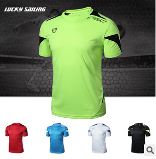 LUCKY SAILING Brand Outdoor Sports Muscle Casual Short Sleeve Workout T shirt Mens Undershirt Fitness Bodybuilding Clothing Men(China (Mainland))