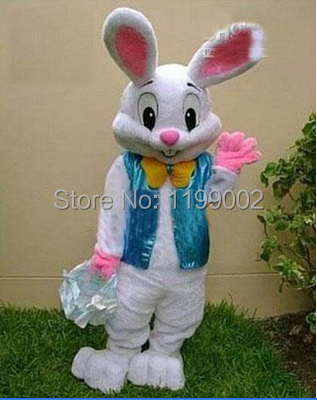 2014 Sell Like Hot Cakes Professional Easter Bunny Mascot costume Bugs Rabbit Hare Adult Free shipping(China (Mainland))