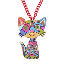 Acrylic Cat Geometric Pattern Necklace