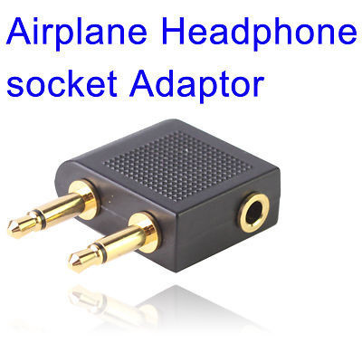 gold double 3.5mm Stereo jack Airline Earphone Travel audio Converter Adapter for Airplane headphone adaptor Accessories(China (Mainland))