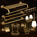 Antique Bronze Brass Carved Bathroom Accessories Brushed Bathroom Products Solid Brass Bath Hardware Sets High Grade