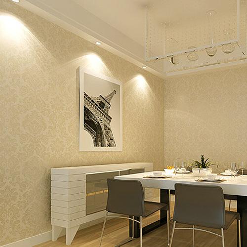 Europeu não tecido papel de parede bege damasco floral