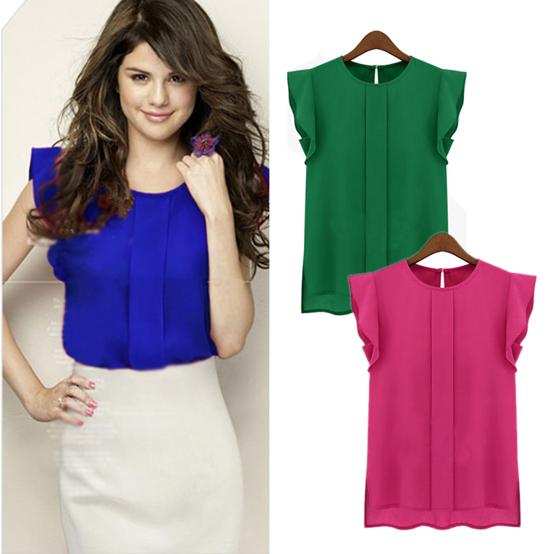 Women Candy Color Chiffon Round Collar Short Ruffle Sleeve Loose Shirt Blouse Tops - elinkmall store