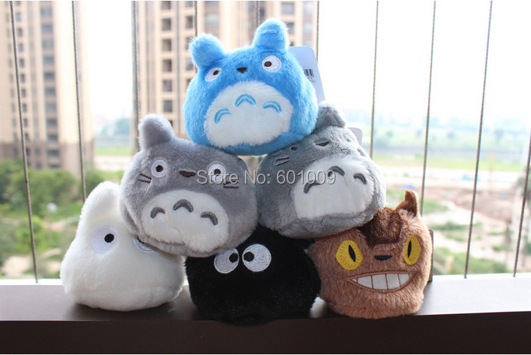 "Free Shipping 6 Styles Lovely My Neighbor TOTORO Dust Soot Trolley Bus Kawaii Chibi Plush Doll Toys 3""(China (Mainland))"
