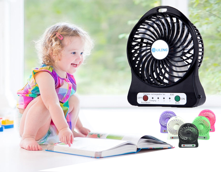 Strong Power Mini Portable Pocket Fan Summer Travel Blower Cooler Rechargeable Battery USB Fan 5 Color #LN830(China (Mainland))
