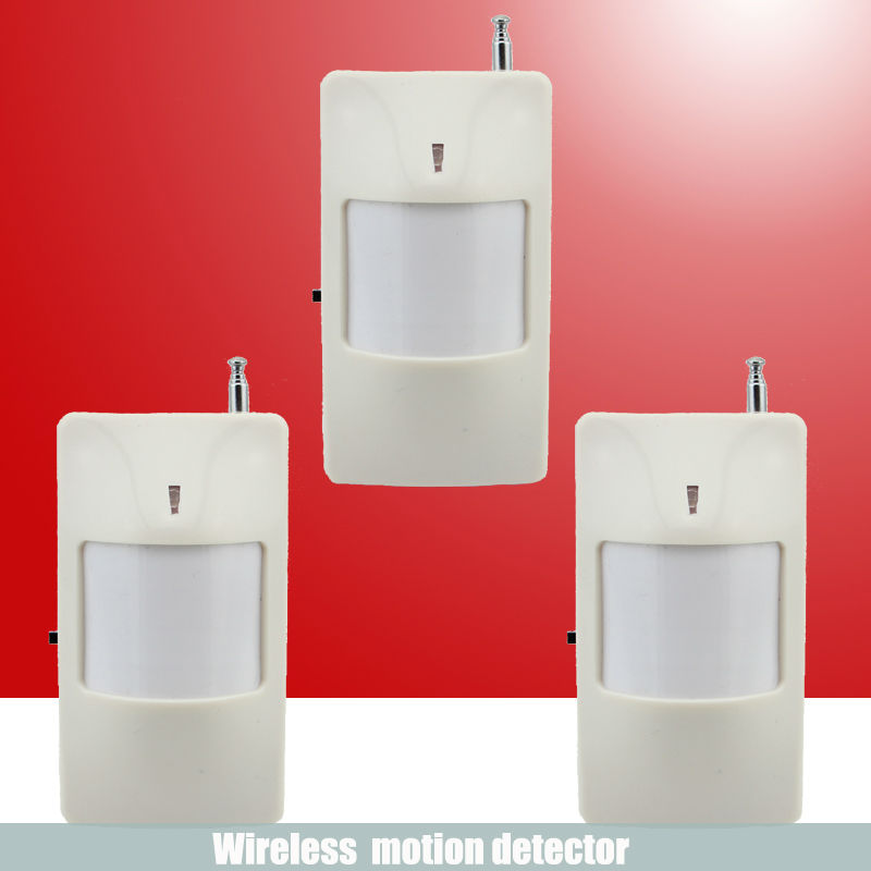 Free shipping 3pcs 433 MHz Wireless Infrared detector PIR Motion Sensor for GSM/PSTN Auto Dial Home Alarm System(China (Mainland))