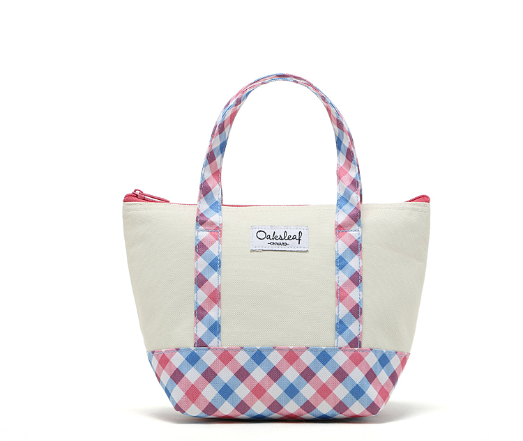 Free Shipping Insulated Picnic Cooler Bag Nylon Lunch Bag with Plaid Pattern Thermal Bags for Food(China (Mainland))