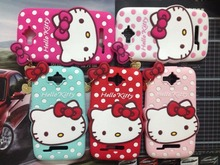 Fashion 3D Cute Cartoon Hello Kitty Metal Pendant Silicone phone Case Cover Alcatel One Touch Pop C7 OT7040 7040D 7041D - Sevan's Digital accessories shop store