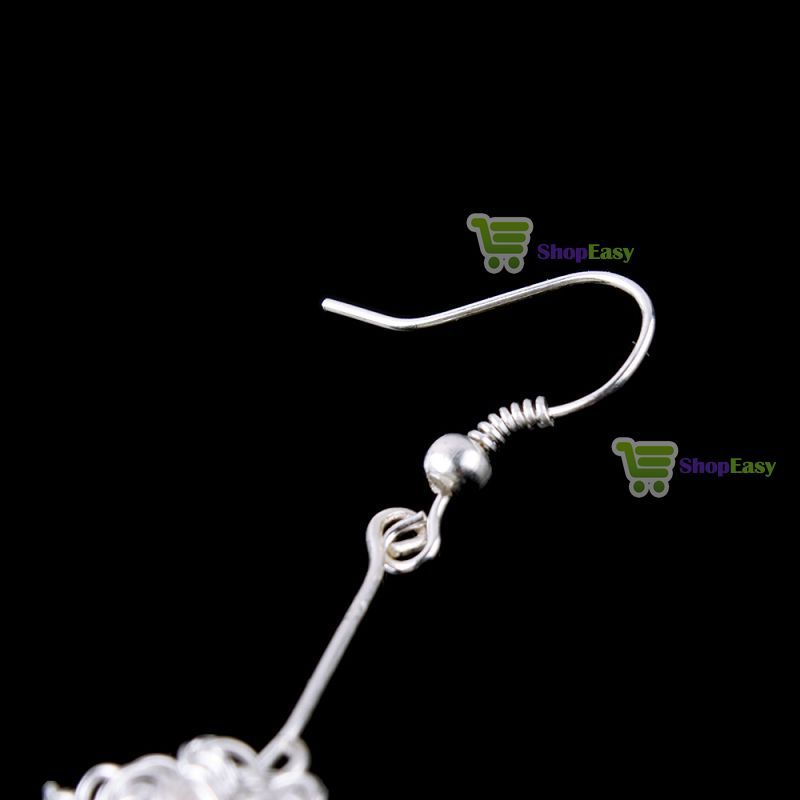 ShopEasy Underspend! Fashion Cute Lovely Silver Hollow Dangle Ball Earrings hot wholesale(China (Mainland))