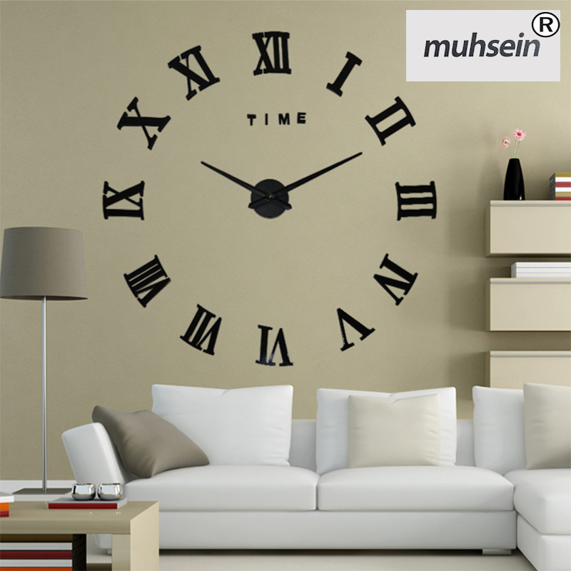 2017 New HomeDecoration Wall Clock Big Mirror Wall Clock Modern Design Large Size Wall Clocks DIY Wall Sticker Unique Gift 130(China (Mainland))