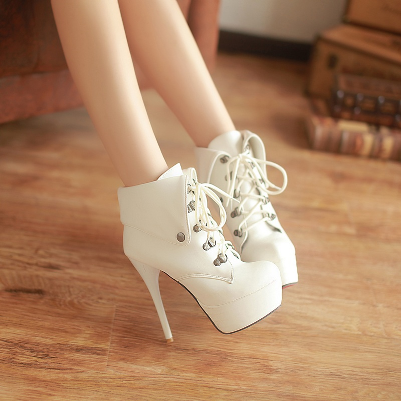 2013 New Fashion Sexy Platform Heels Lace Women Ankle Boots Red Sole