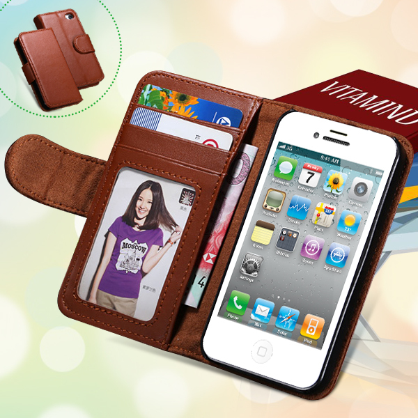 Vintage Design PU Leather Case For iphone 4 4S 4G Stand Wallet Card Slot Photo Frame Mobile Phone Cover For Iphone4 Case(China (Mainland))
