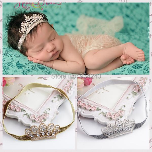 hair accessories Crystal crown Children's hair band baby girl's headwear Princess Baby Newborn Crystal Pearl Crown Hairband 613(China (Mainland))