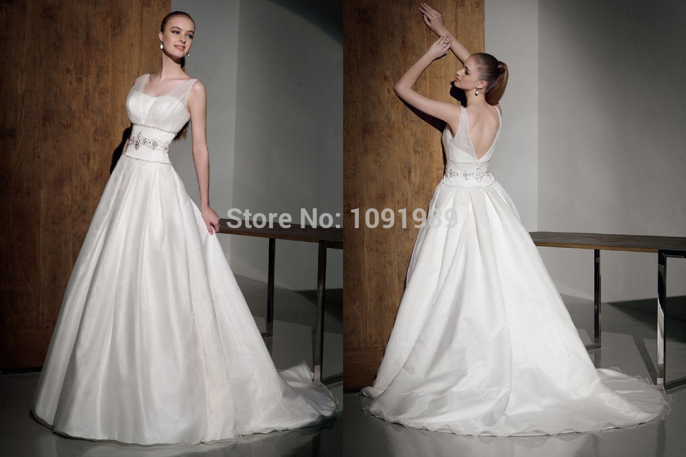 Fashion2014 special white ivory straps wedding dress gown for Us size wedding dresses