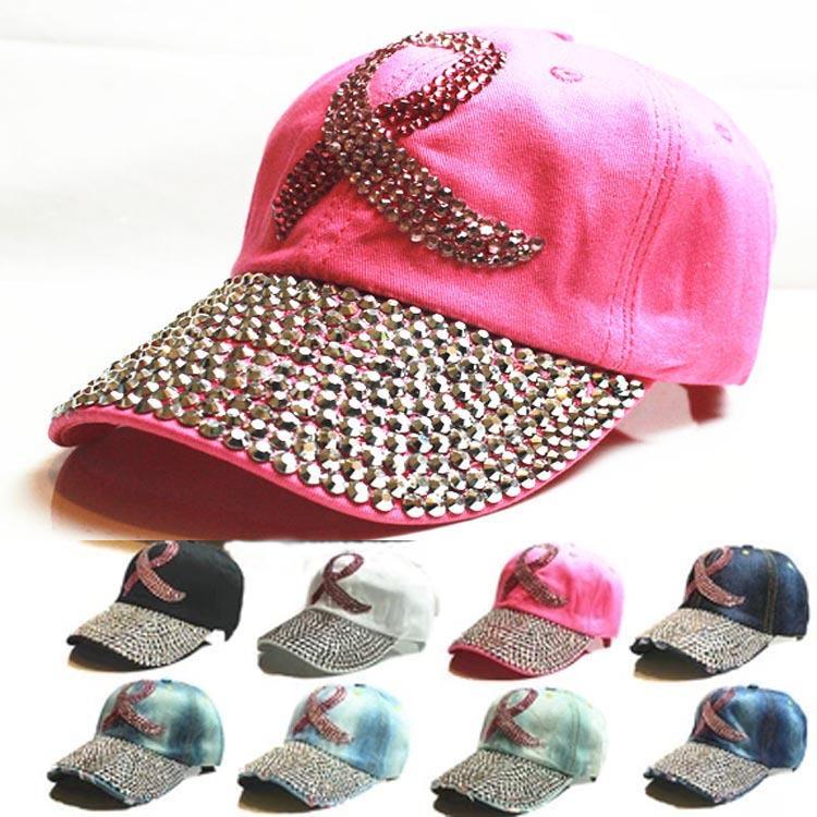 2015 New 8 colors Retail Diamond Point Colored Ribbon denim pink caps women baseball cap girls Hat rhinestone print(China (Mainland))