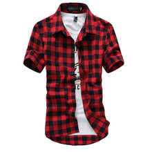 Buy Plaid Shirt Men Shirts 2017 New Summer Fashion Chemise Homme Mens Checkered Shirts Short Sleeve Shirt Men Cheap Red Black for $7.93 in AliExpress store