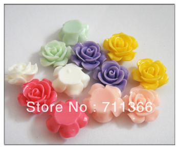 Hot Sale Resin DIY Decoration for Mobilephone and Jewelry 15mm resin flower beads Mix colors 2000pcs/lot