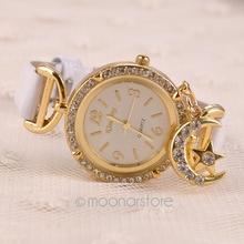 Luxury Brand Watch Women Rhinestones Moon Pendant Watches Female Dress Quartz Wrist watch digital watch FYMPJ632