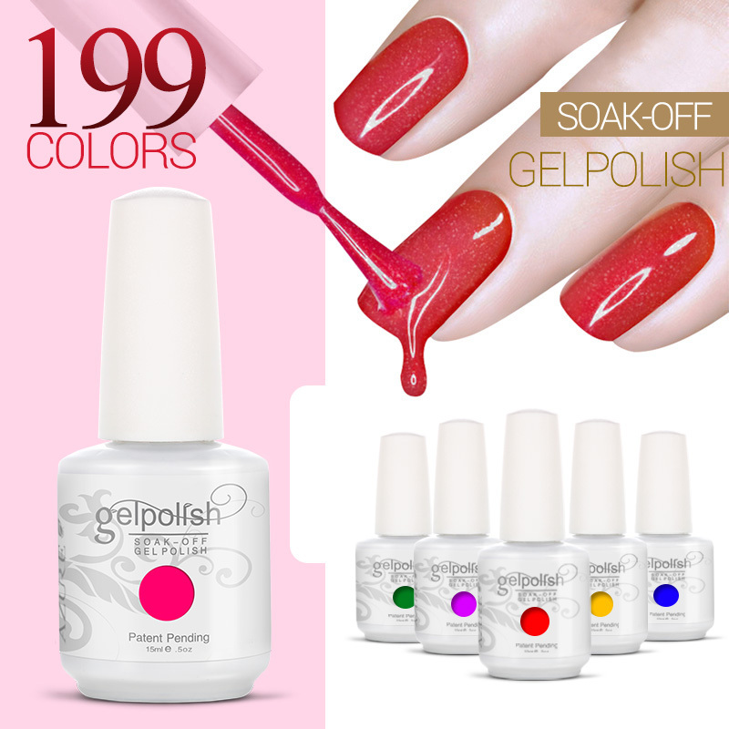 199 Colors 15ml Gelpolish set for Nail Gel Color Lacquer UV Soak Off Professional UV Gel Nails Kit gel to build nails(China (Mainland))