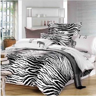 Quality Black and White zebra 100% cotton 3pcs 4pcs children/adult comforter/duvet Cover bedding set Twin/Queen/King size/3129(China (Mainland))