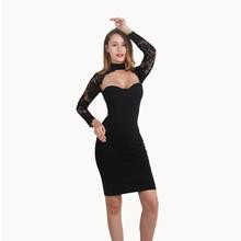 2017 new winter women fashion high neck long sleeve party lace zipper celebrity bandage dress bodycon dresses(China (Mainland))