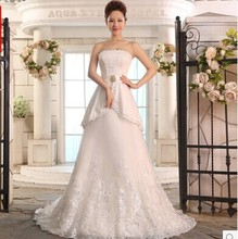 High Quality Lace wedding dress 2014 Autumn new arrival slim bandage bride dresses plus size Custom Made Fish Tail wedding gowns(China (Mainland))