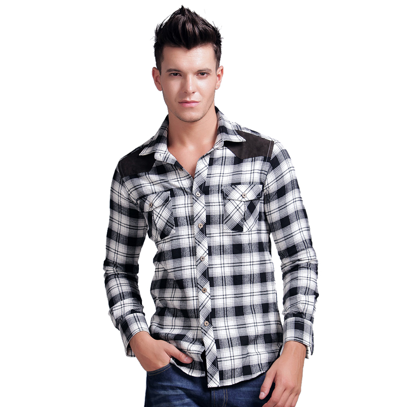 Lesmart Mens Shirt Long Sleeve Turn-down Collar Cotton Flannel Plaid Casual Suede Splice Wash Wear Dress Camisa Masculina - Qingdao Textile Co., ltd store