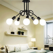 Iron Surface mounted ceiling lighting american style 5 heads ceiling lights bedroom living room ceiling lamp for clothing store(China (Mainland))