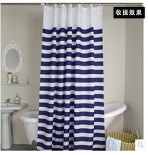 2014 Hot sale Navy European classic blue and white waterproof mildew  bathroom curtain navy blue stripes shower curtain(China (Mainland))