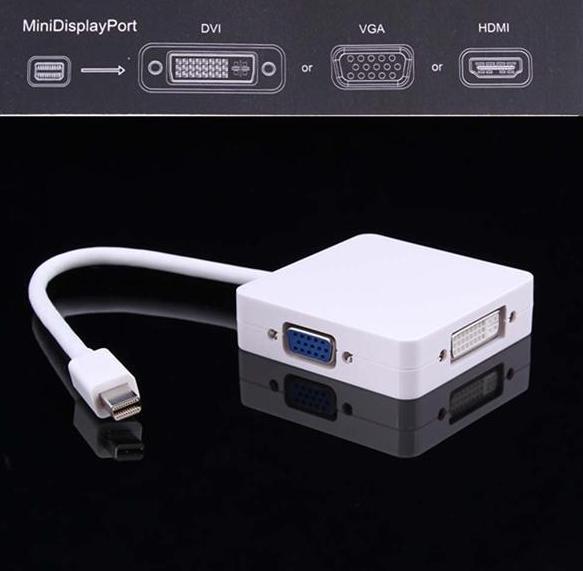 3 in 1 DP Displayport Thunderbolt to HDMI DVI VGA Adapter for Apple MacBook(China (Mainland))