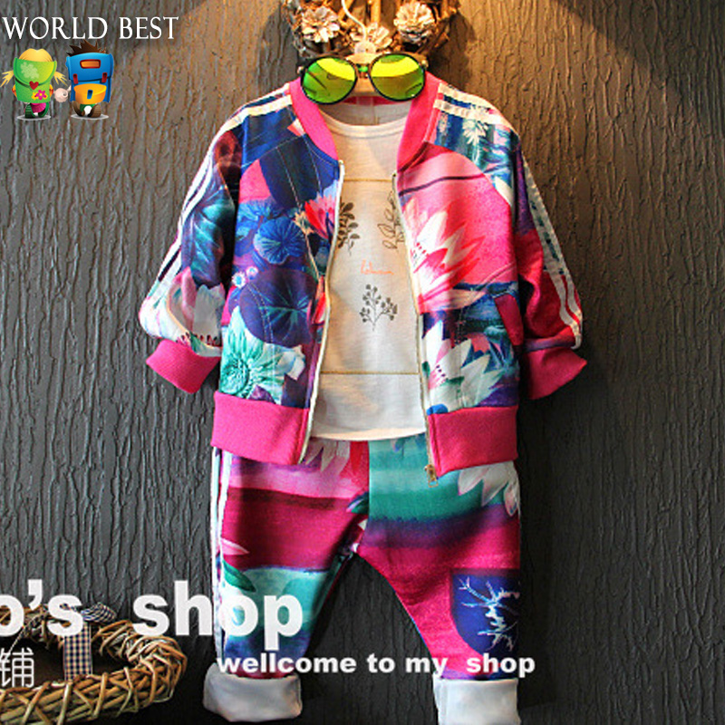 2016 Spring Girls Clothing Set Children Colorful Print Zipper Sports Casual Set Everything For Children Clothing And Accessories<br><br>Aliexpress