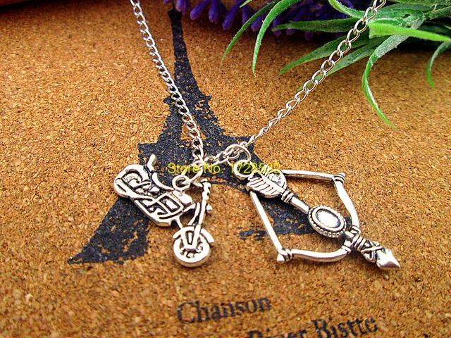 The Walking Dead Necklace with Crossbow and Motorcycle Charms