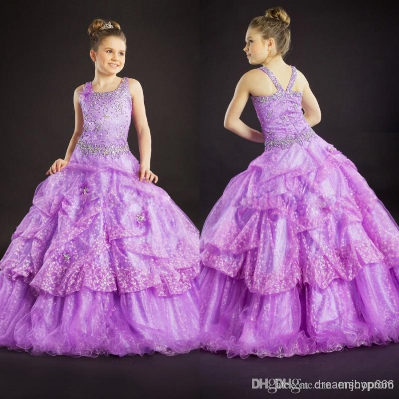 New Girl's Pageant Dresses Lavender Organza Spaghetti and Shining Beads A-line Cheap Cute Lovely Flower Girls Dress Cheap Kids(China (Mainland))