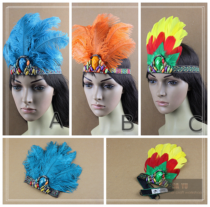 DY original exaggerated ostrich feather hair accessories feather headdress Crown cheer performances(China (Mainland))
