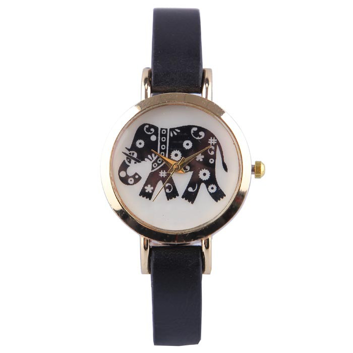 Cartoon Watch Men Women Quartz Leatrer Band Casual Sports Watches Golden Dial Famous Brand Gift 2014 New Fashion Free Shipping(China (Mainland))