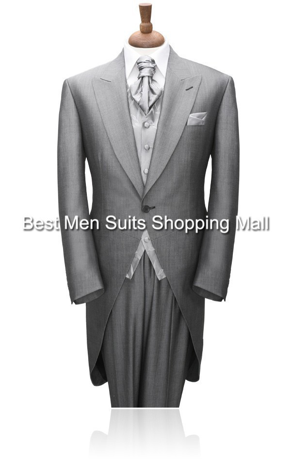 Grey Tailcoat Groom Wedding TUXEDOS,Men,mens suits pants suit 2015 Long Tail tuxedo(Jacket+PantsVestTie)Prom Clothing - Best Men Suits Shopping Mall-Custom Made store