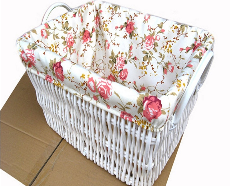 34493 100% Manual made White Natural Wicker Box Antique style with cotton inner cover home decorative Inomata(China (Mainland))