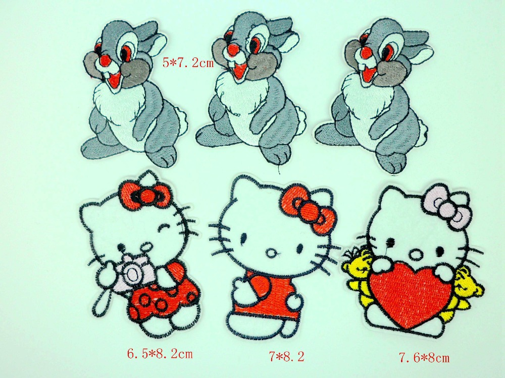Promotion MIX 6pcs Embroidered cartoon animal rabbit hello kitty patch ironing patches for clothing embroidery DIY accessory SET(China (Mainland))