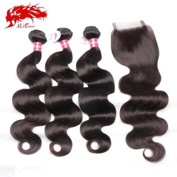 7A Malaysian Virgin Hair With Closure With Free Shipping, 3 Bundles Malaysian Body Wave With Lace Closure