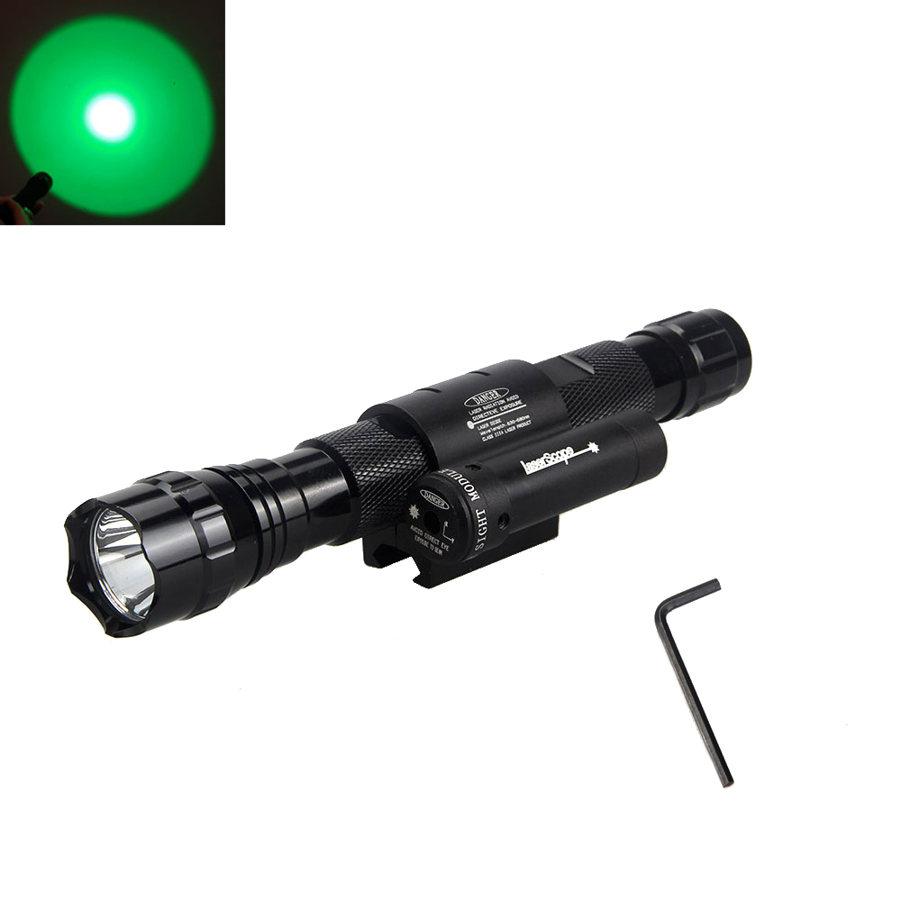 Tactical 2000 Lumens Green/Blue/Red/White LED Flashlight Torch Light & Red Laser Dot Sight(China (Mainland))