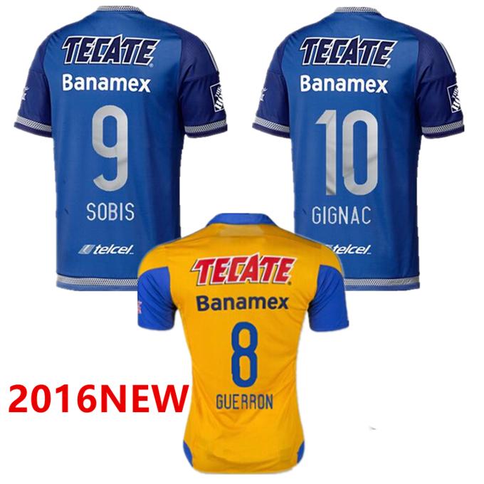Tigres UANL Jersey / 2016 Spring Autumn soccer jerseys / Top Thai Quality / GIGNAC GUERRON home yellow away blue football shirts(China (Mainland))