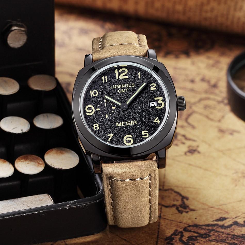MEGIR Известный Бренд Моды для Мужчин Спортивные Часы Кварцевые Коричневый Ремешок Черный Циферблат Водонепроницаемый Наручные Часы Мужчины Relogio